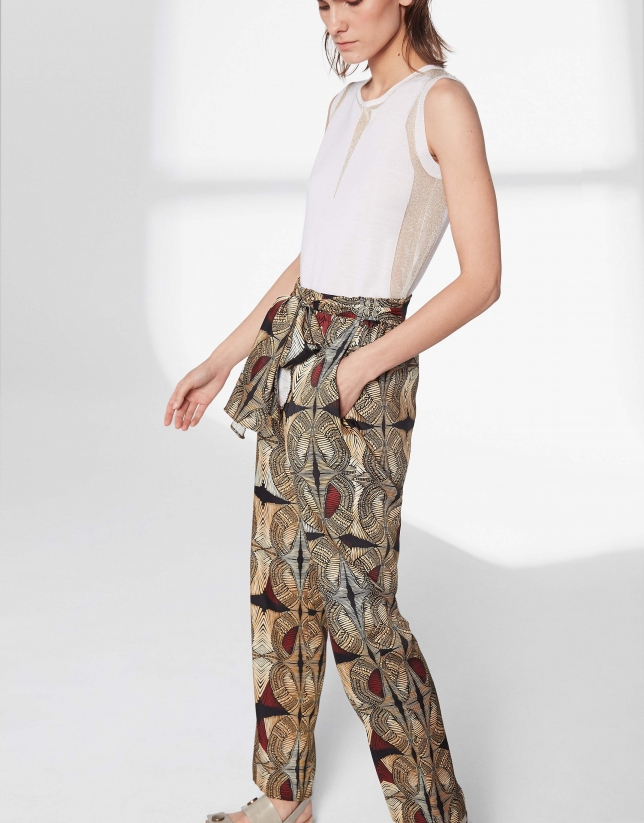 Ethnic print flowing pants