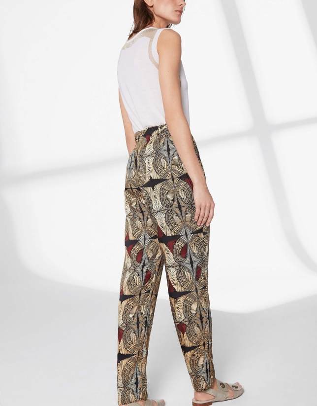 Ethnic print flowing pants