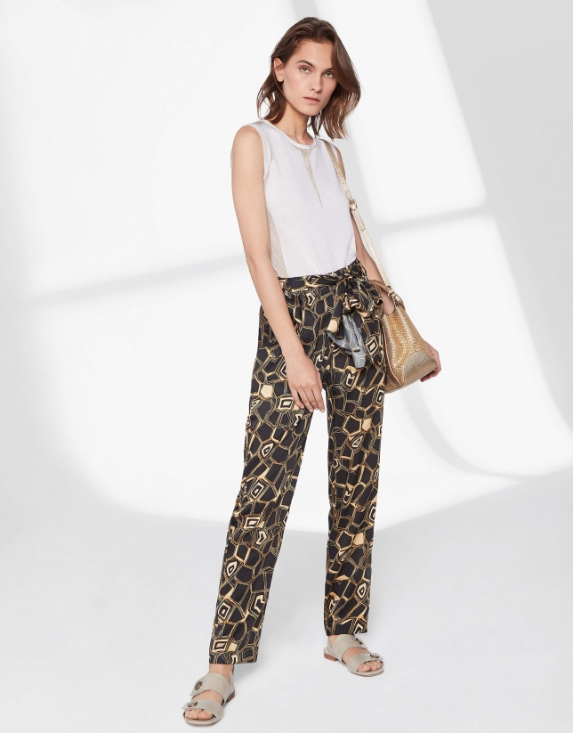 Geometric print flowing pants