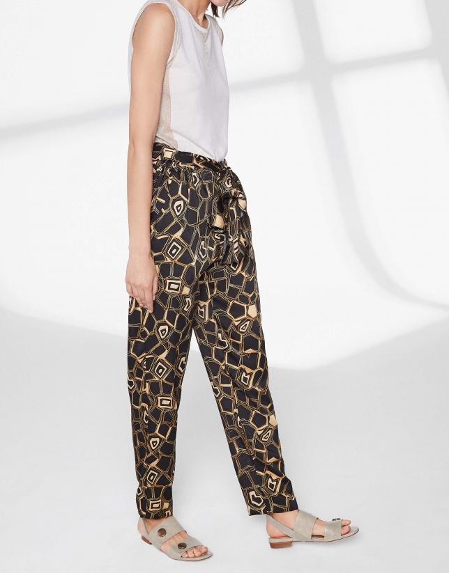 Geometric print flowing pants