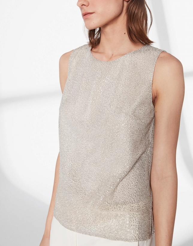 Silver tulle embroidered top