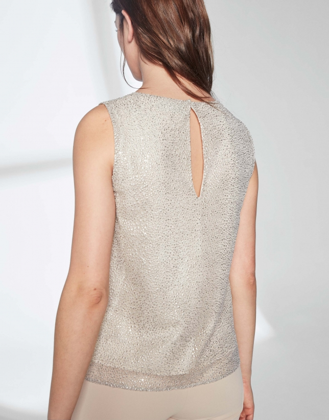 Gold tulle embroidered top