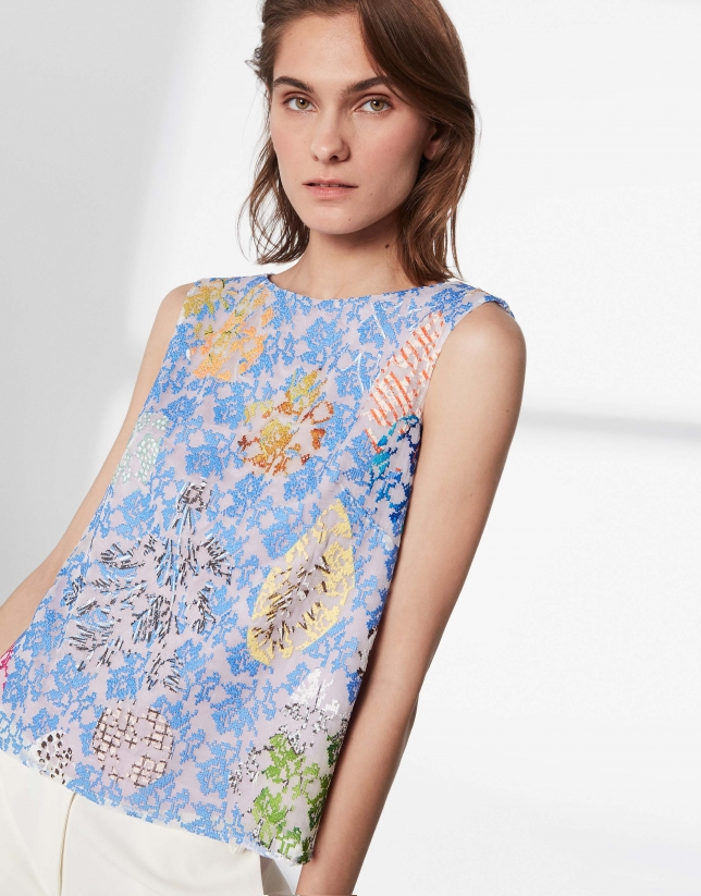 Floral print and cross-stitched top
