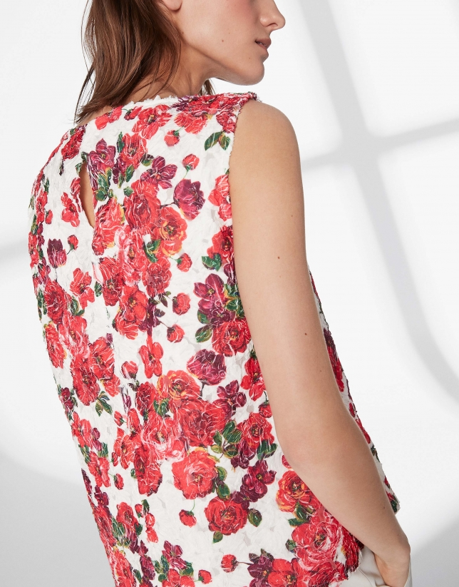 Top estampado floral granate