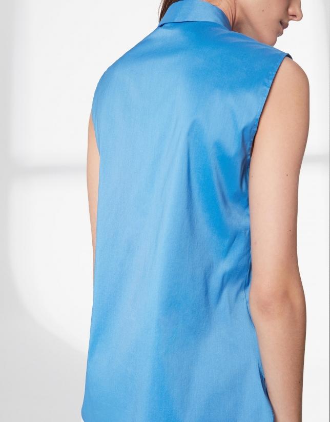 Blusa sin mangas azul