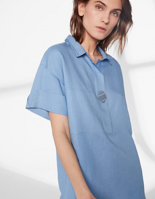 Blue short-sleeved light shirt