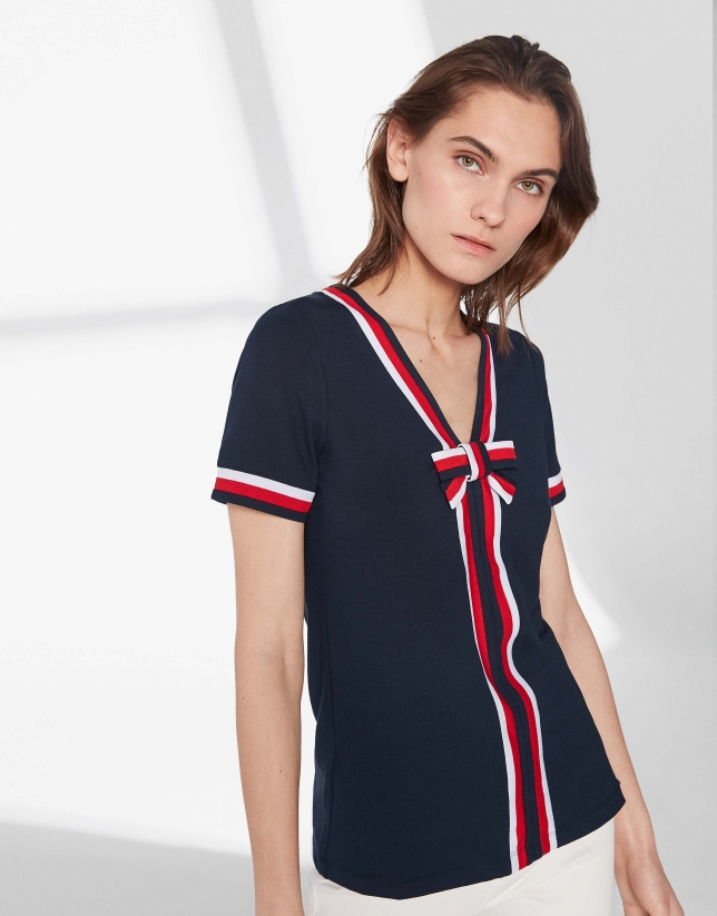 T-shirt style marinière bleue avec ruban