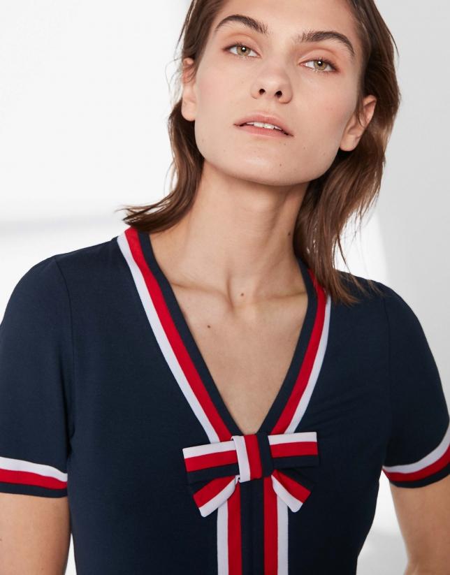 Camiseta marinera lazo azul marino