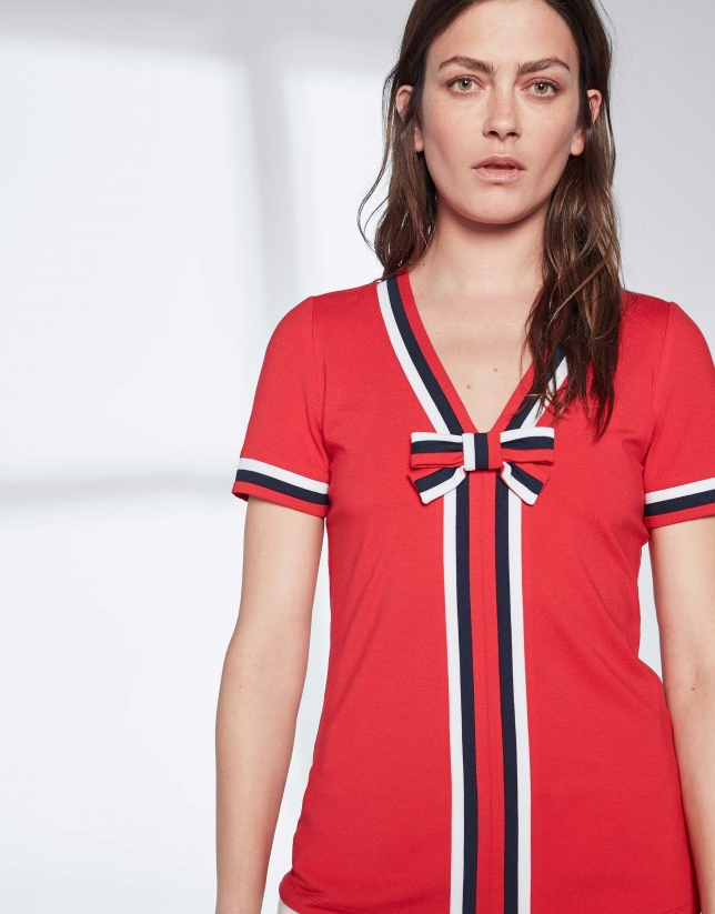Red sailor top with bow