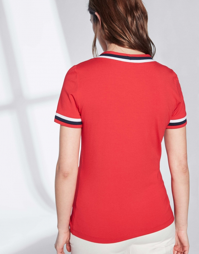 T-shirt style marinière rouge avec ruban