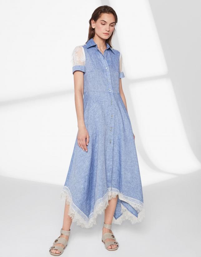 Robe cen lin bleu avec dentelle beige
