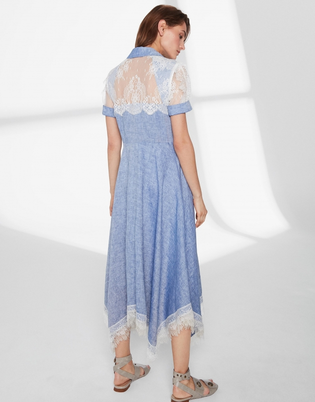 Blue linen dress with beige lace