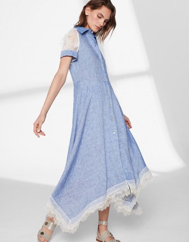 Vestido lino azul con encaje crudo