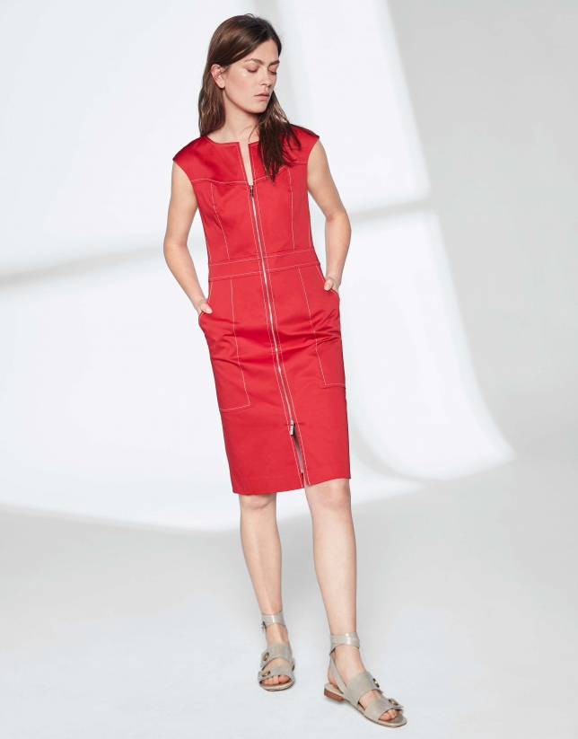 9aecece6eab Robe midi en coton rouge - Femme - PE2019