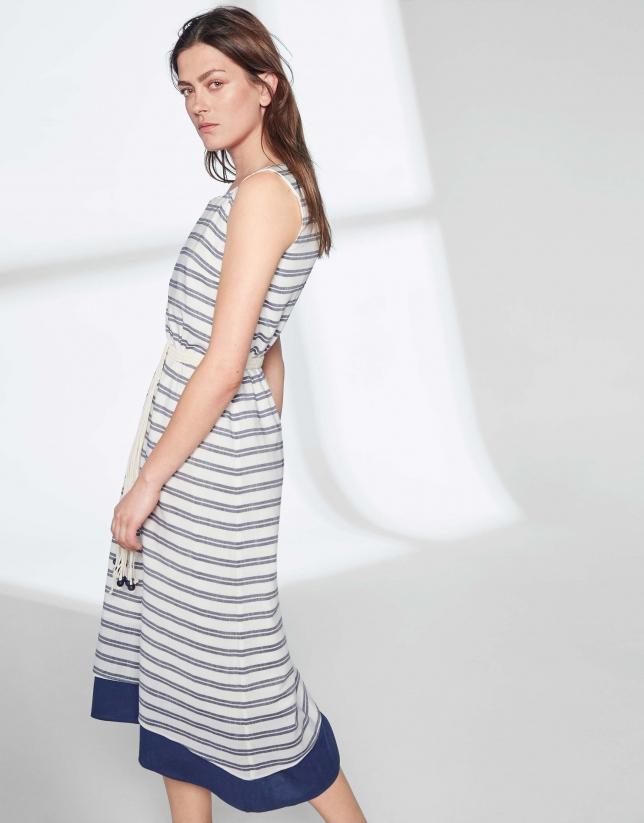 Vestido midi rayas azul