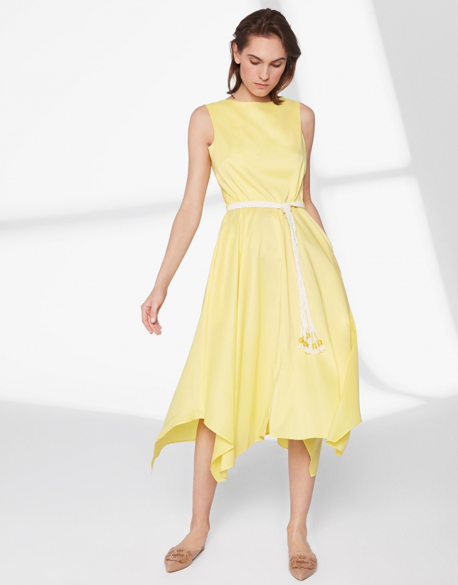 Yellow dress with scarf skirt