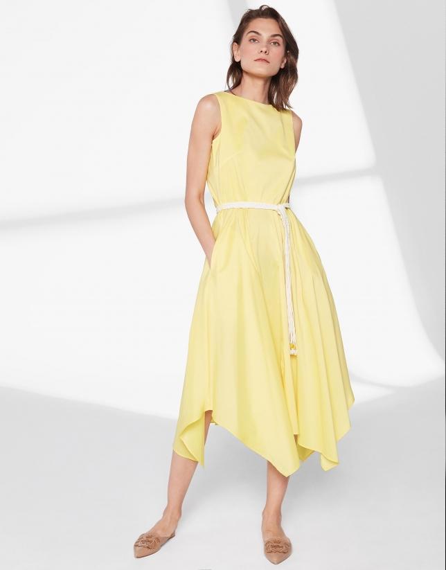 Robe jaune avec jupe style foulard