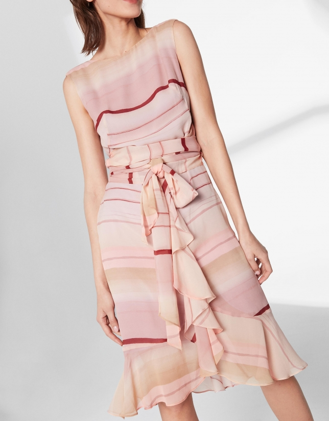 Pink midi dress with flounce