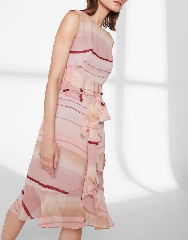 Vestido midi volante rosa