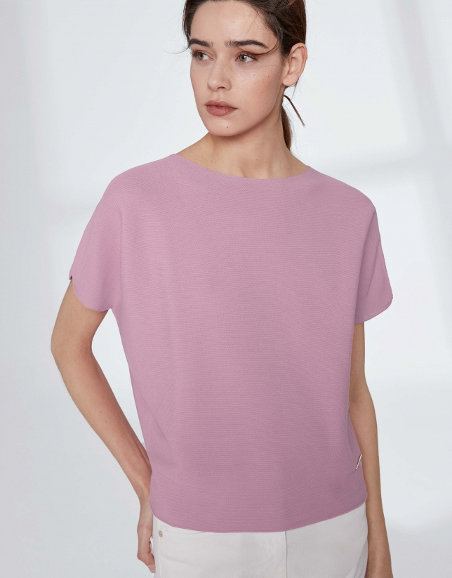 Pull manches chauve-souris rose