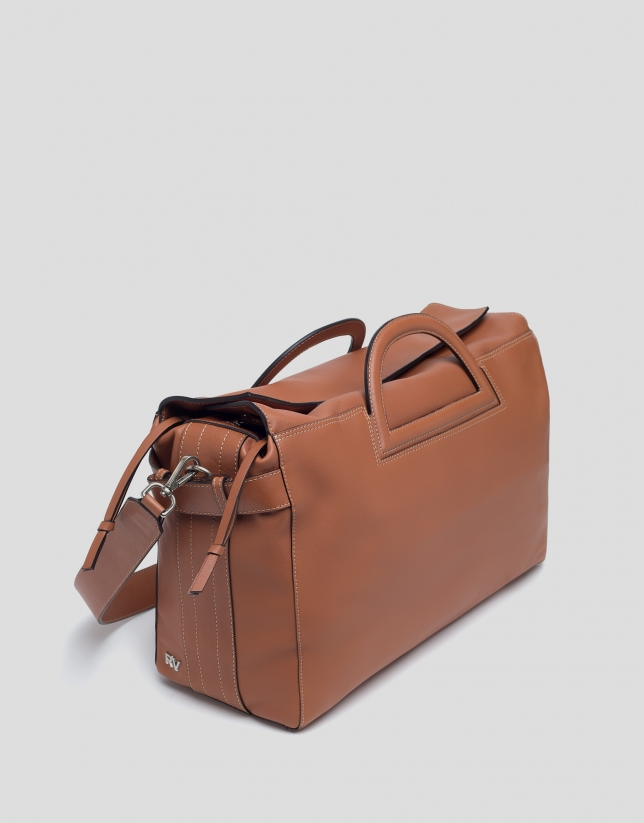 Brown leather Luxor shopping bag