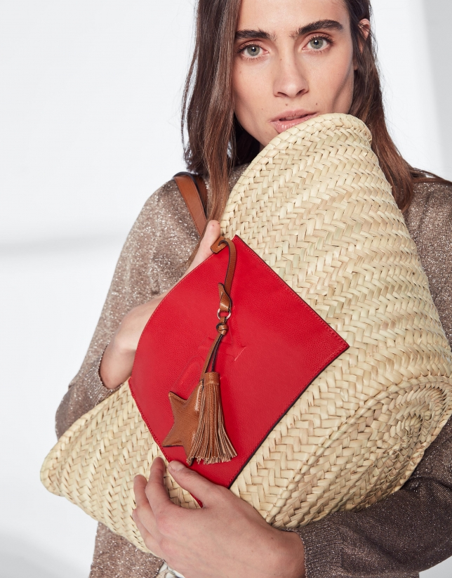 Natural fiber basket bag