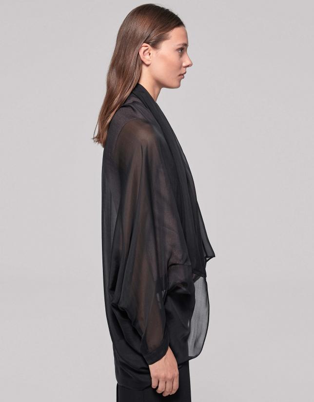 Chal de seda negro