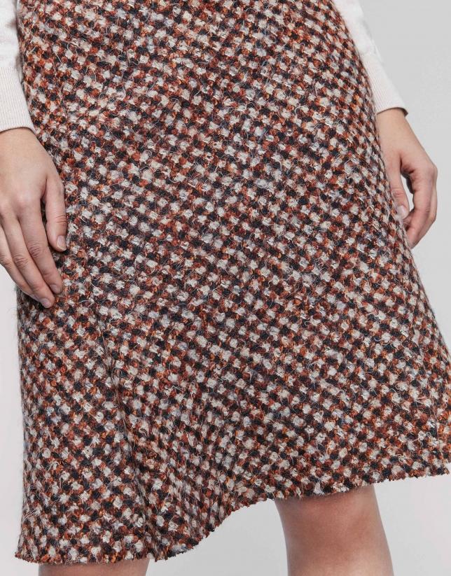 Orange skirt with slanted hem