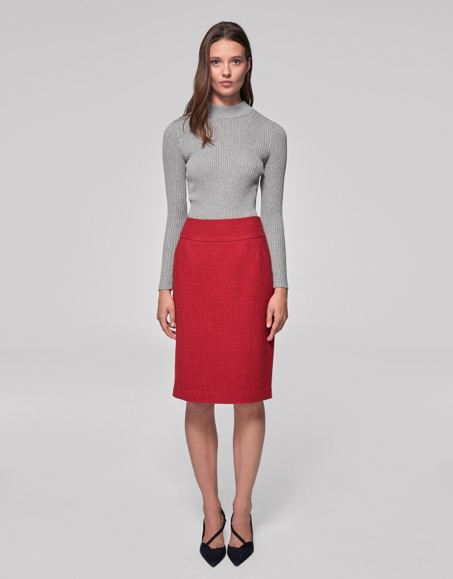 Falda midi piqué rojo