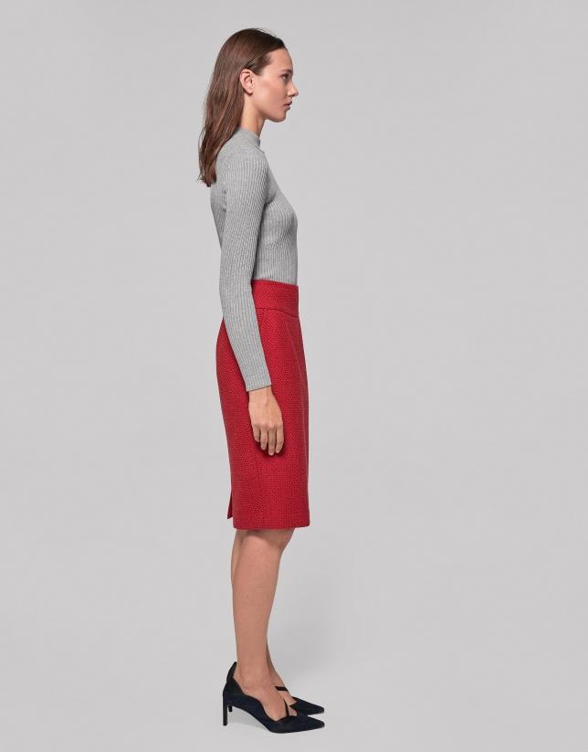 Red pique midi skirt