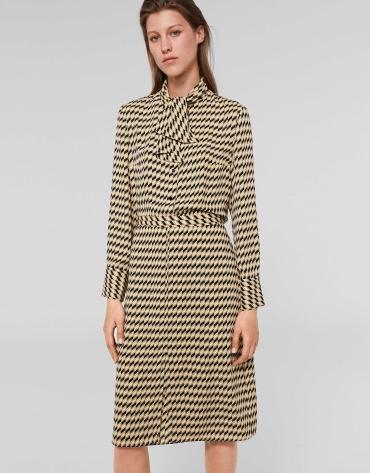Black/gold geometric print midi skirt