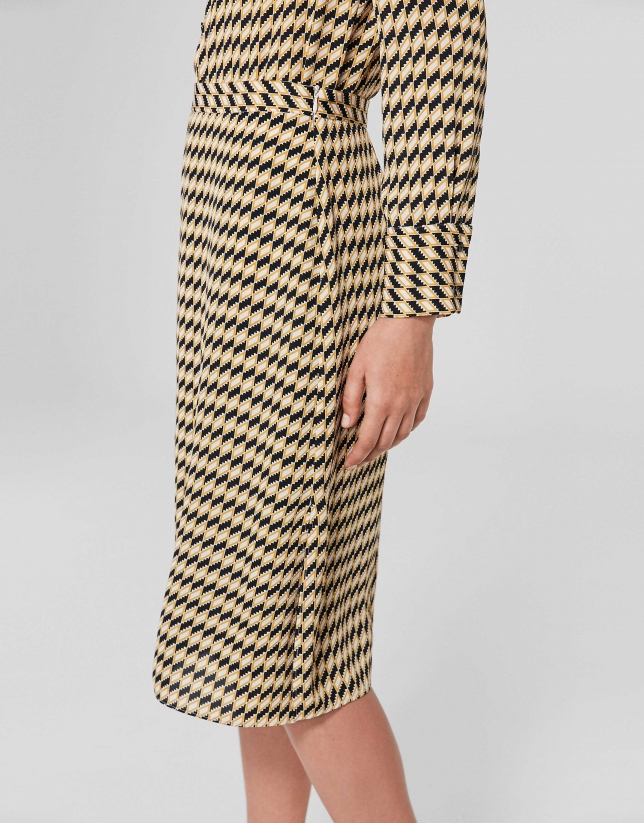 Black/gold geometric print midi skirt
