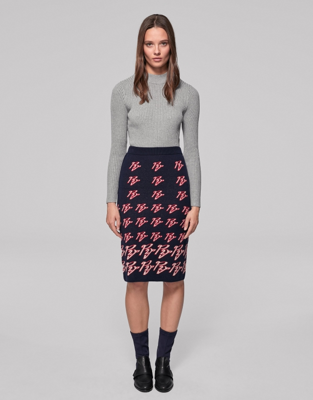 Blue knit midi RV jacquard skirt