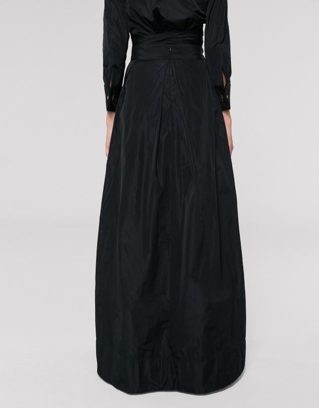 Black long taffeta party skirt