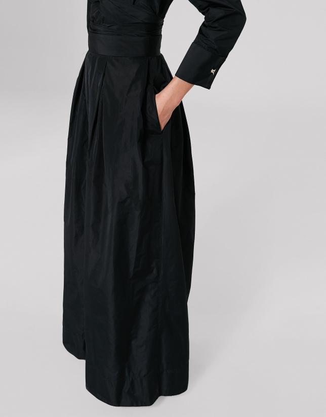 Falda larga de fiesta en tafetán negro