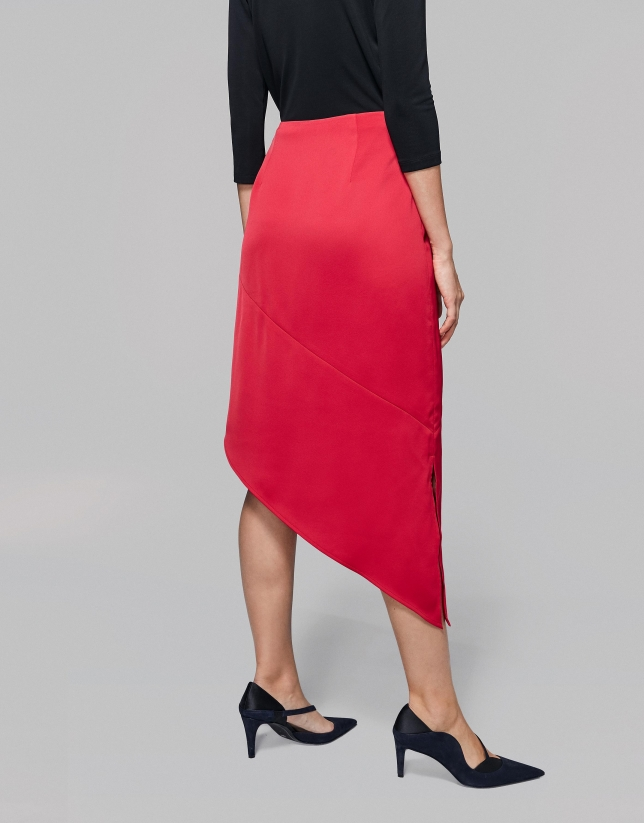 Red asymmetric flowing skirt