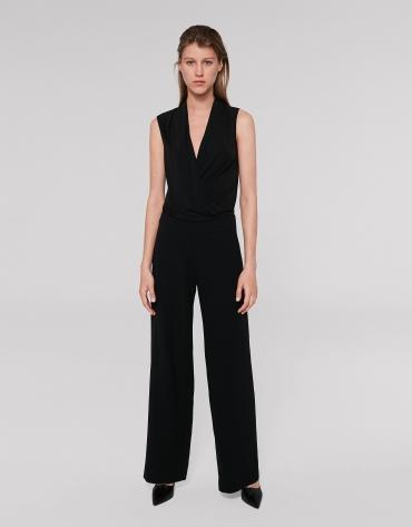 Pantalon droit tissu fluide noir