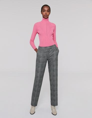 Pantalon droit Prince de Galles gris et ocre