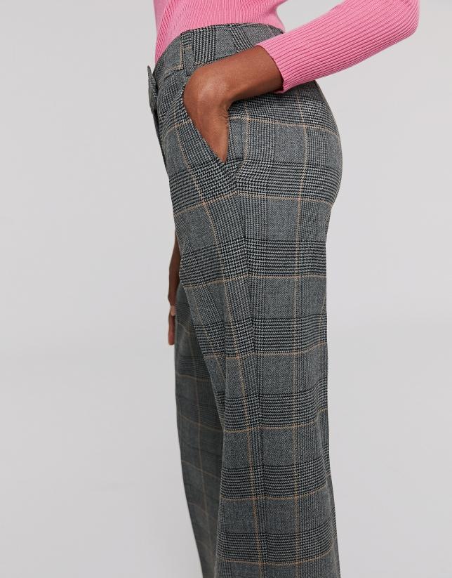 Pantalón recto cuadro gales gris y tostado