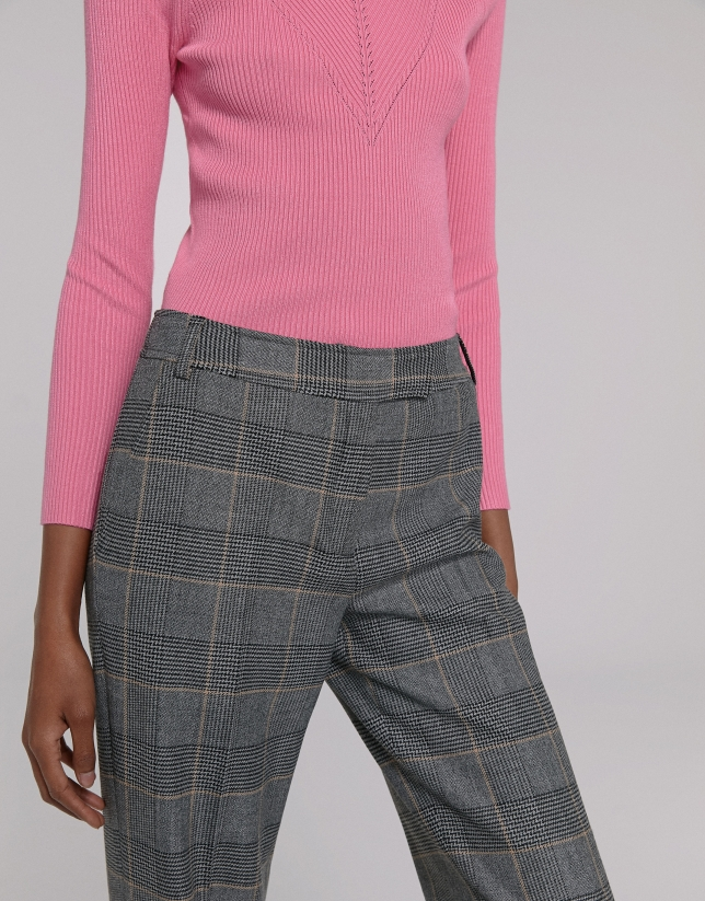 Gray and brown plaid straight pants