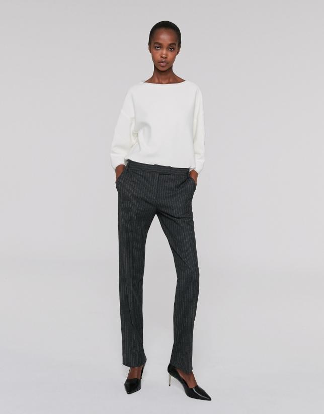 Pantalon droit gris à rayures diplomatiques