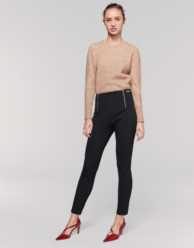 Black knit cigarette pants with zip