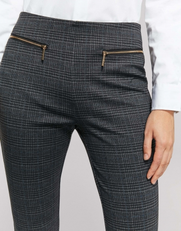 Gray checked knit cigarette pants