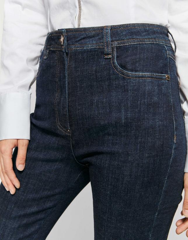 Jean cigarette pants with fringe