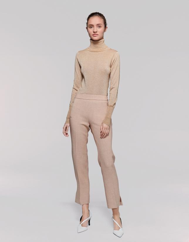 Pantalon 7/8 couleur vison