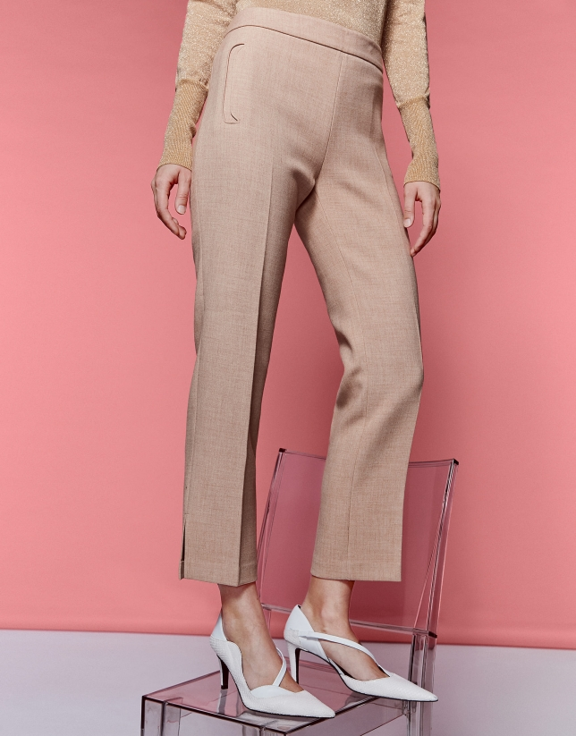 Mink-colored ankle-length pants