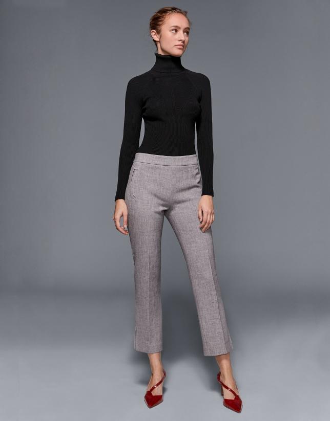Pantalon 7/8 couleur gris marengo