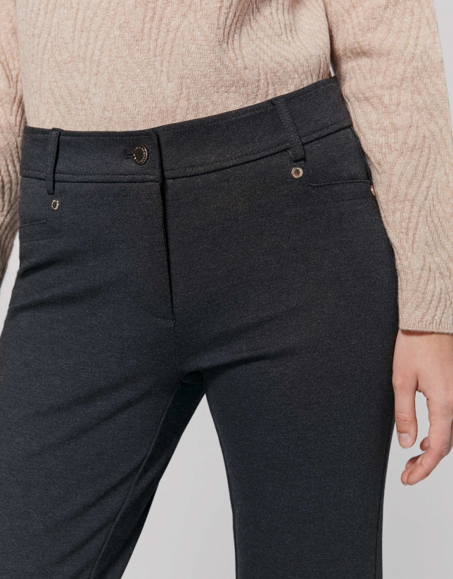Grey knit cigarette pants