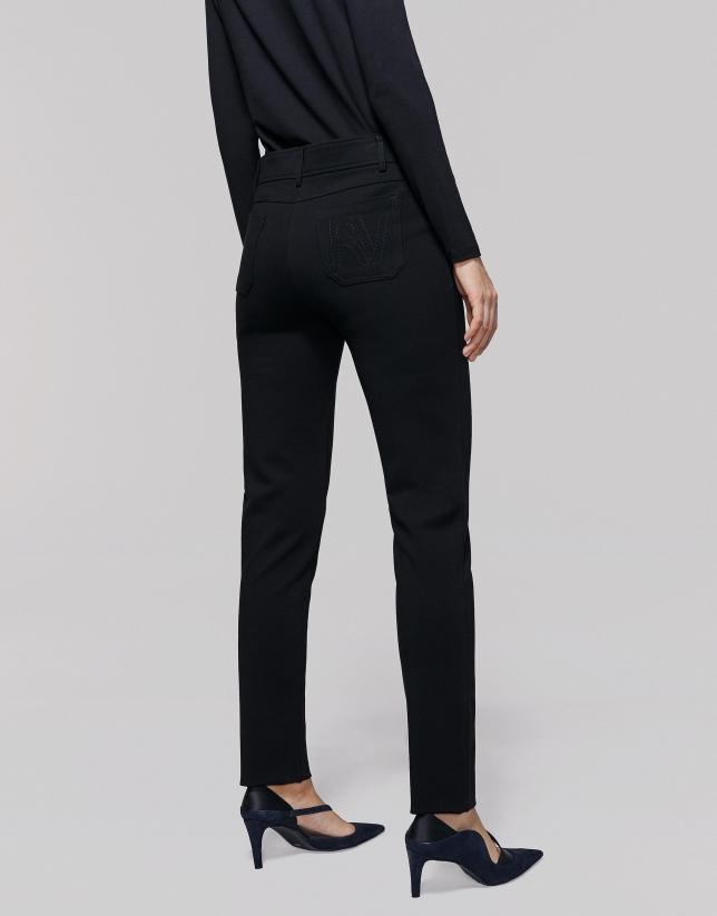 Pantalon fuseau en maille noir