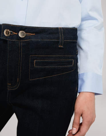 Blue, straight, angle-length jeans